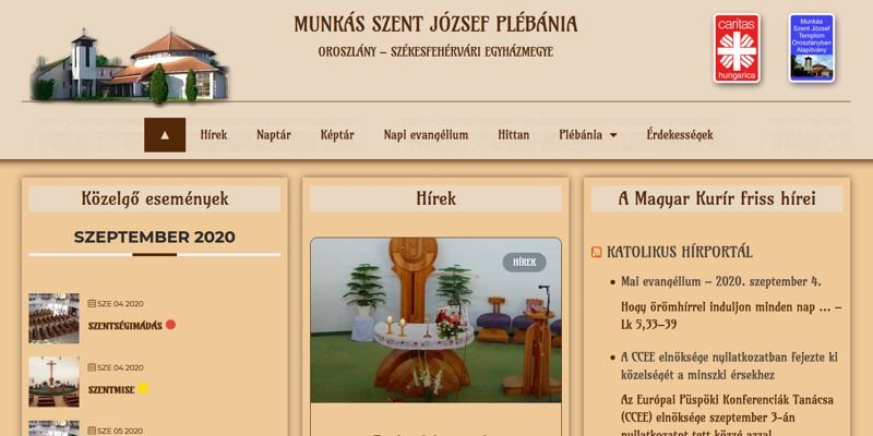 Plébániának weboldal készítés